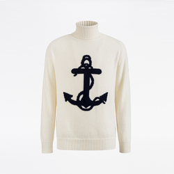 UNISEX TURTLENECK WITH ANCHOR, BLUE NAVY, SIZE XS