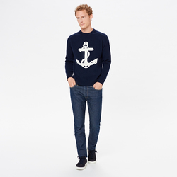 UNISEX CREW NECK WITH ANCHOR, BLUE NAVY, SIZE XS