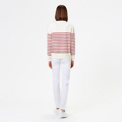 WOMEN COTTON MARINIÈRE, MILK WHITE / RED, SIZE M