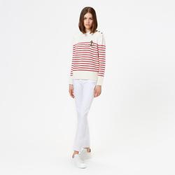 WOMEN COTTON MARINIÈRE, MILK WHITE / RED, SIZE XS